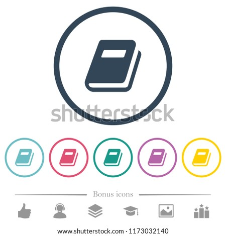 Personal diary flat color icons in round outlines. 6 bonus icons included.