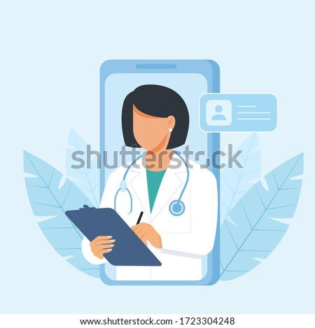 Personal doctor giving advice for patient landing page website illustration vector flat design Сток-фото ©