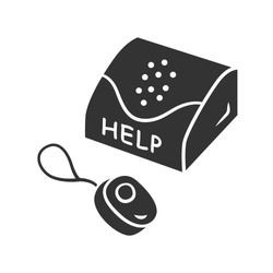 Personal emergency response system glyph icon. Device for physically disabled people. Call for assistance, help. Medical alert button. Silhouette symbol. Negative space. Vector isolated illustration