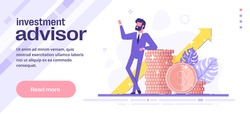 Personal financial and investment advisor service. Financial consultation concept. Modern vector web banner.