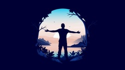 Personal freedom in oval frame - Man standing with open arms welcoming a new day with sunrise and beautiful view. Carefree, happiness and feeling free concept. Vector illustration