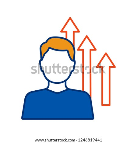 Personal growth color icon. Achievements. Goal achieving. Self development and improvement. Career growth. Isolated vector illustration