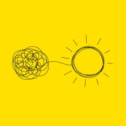Personal growth, development, evolution icon. Tangled and unraveled tangle, insight, mentor. Coaching, training, brainstorm icon. Vector illustration