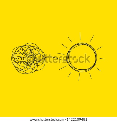 Personal growth, development, evolution icon. Tangled and unraveled tangle, insight, mentor. Coaching, training, brainstorm icon. Vector illustration Foto stock ©