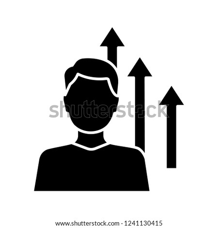 Personal growth glyph icon. Achievements. Goal achieving. Self development and improvement. Career growth. Silhouette symbol. Negative space. Vector isolated illustration