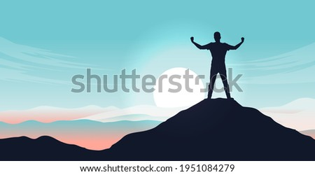 Personal growth - Male person standing on mountain peak after triumph and having overcome adversity. Mental strength and winner mentality concept. Vector illustration. Stock photo ©