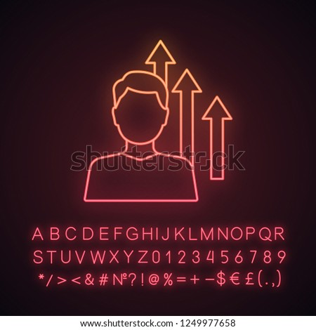 Personal growth neon light icon. Achievements. Goal achieving. Self development and improvement. Career growth. Glowing sign with alphabet, numbers and symbols. Vector isolated illustration