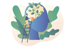 Personal growth. Self-improvement and self development concept. Tiny man watering that growing plant from the brain as metaphor growth personality. Modern flat cartoon style. Vector illustration