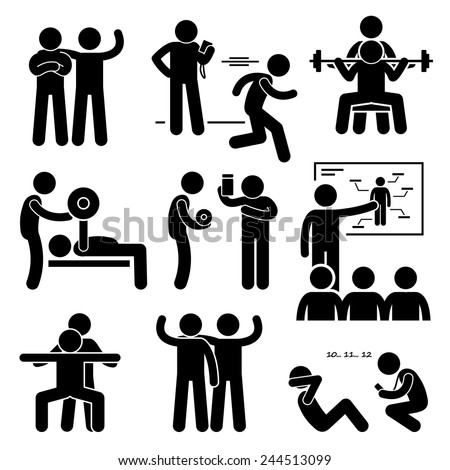 Personal Gym Coach Trainer Instructor Exercise Workout Stick Figure Pictogram Icons Stock fotó ©