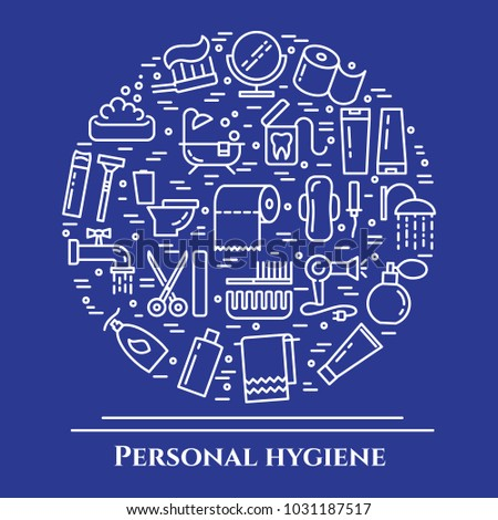 Personal hygiene banner with thin line elements of healthcare and cleaning pictograms collected in form of round. Vector illustration of isolated outline icons with editable stroke.