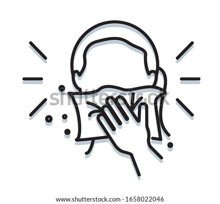 Personal Hygiene - Covering Mouth with tissue while sneezing - Icon as EPS 10 File