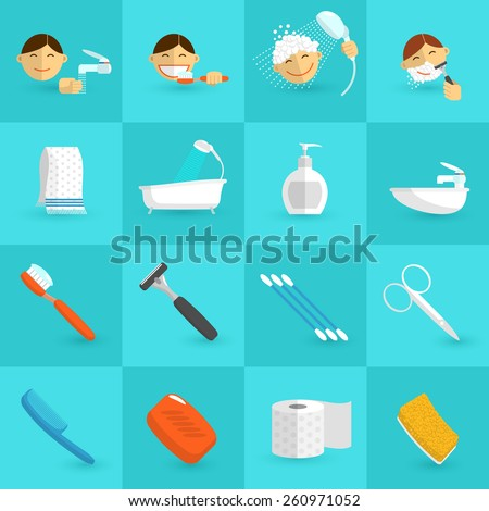 Personal hygiene icons flat set with bathroom cosmetics isolated vector illustration Stock foto ©