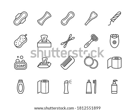 Personal hygiene products flat line icon set. Vector illustration sanitary pads, soap, washcloth cotton pads toothbrush napkin razor. Editable strokes Stockfoto ©
