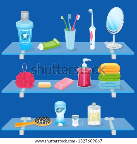 Personal hygiene supplies. Vector cartoon illustration. Bathroom glass shelves with soap, toothbrush, toothpaste and hand towels. Sanitary and care icons and design elements. Stock foto ©