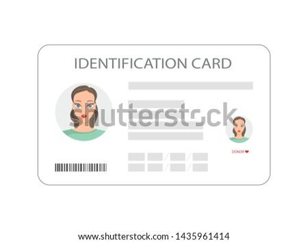 Personal identification card. ID card, identification card, identity verification, person data.