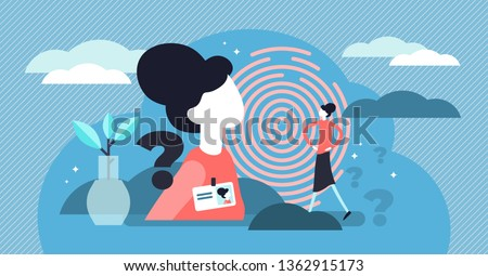 Personal identity vector illustration. Flat tiny identification persons concept. Abstract ID card badge and fingerprint authorization. Personality biometric recognition control and unique access pass.