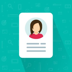 Personal info data icon vector illustration isolated, flat cartoon style of user or profile card details symbol, my account pictogram idea, identity document with person photo and text clipart