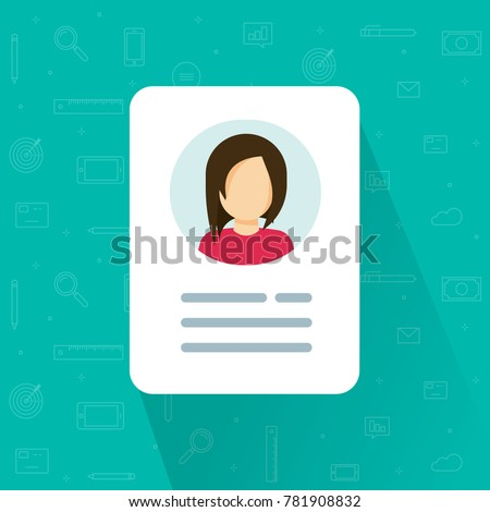 Personal info icon vector illustration isolated, flat cartoon style of user or profile card details symbol, my account pictogram idea, identity document with person photo and text clipart