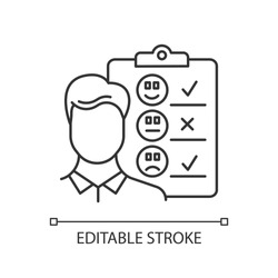 Personal interview linear icon. Survey questionnaire form. Customer service rating. Employee satisfaction. Thin line illustration. Contour symbol. Vector isolated outline drawing. Editable stroke