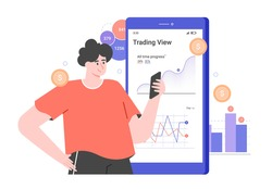 Personal investment. Mobile application for a trader. Character and big smartphone with graphs. Analysis of trends and dynamics of stock prices. Vector flat illustration.