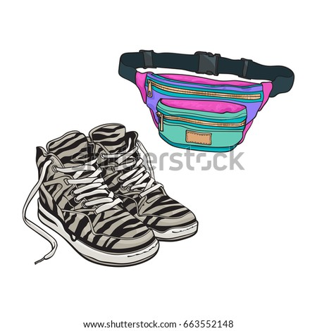 Personal items from 90s - zebra sneakers and colorful waist bag, sketch vector illustration isolated on white background. Fashion of the nineties, 90s - high sneakers, sport shoes, colorful waist bag
