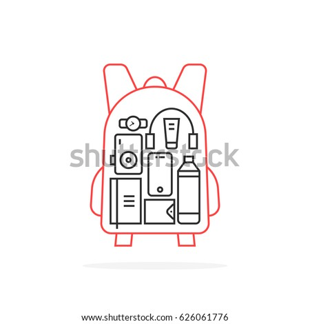 personal items inside thin line backpack. concept of simple haversack for hipster or young man and collection of objects for life. stroke flat style trend urban logotype graphic art design on white