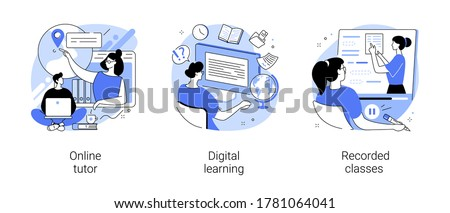 Personal learning abstract concept vector illustration set. Online tutor, digital learning, recorded classes, video call, webinar, smart classroom, training courses, elearning abstract metaphor.