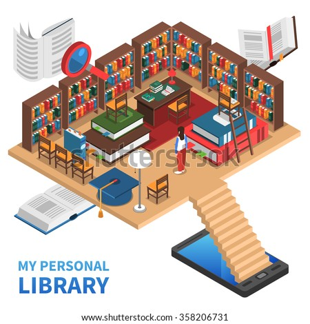 Personal library isometric concept with lots of books and bookshelves vector illustration