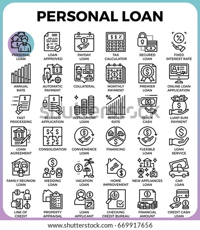 Personal loan concept detailed line icons set in modern line icon style for ui, ux, web, app design