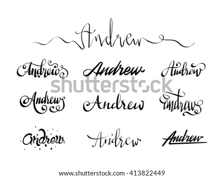 98cb5cc2ce871 Personal name Andrew. Vector handwritten calligraphy set. Handmade  lettering collection. Calligraphy tattoo alphabet.