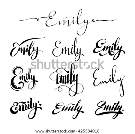 Personal name emily vector handwritten calligraphy set Images of calligraphy