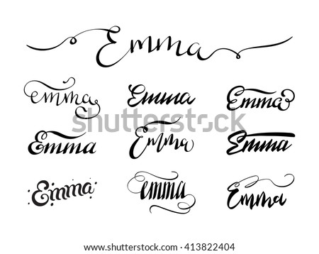 Personal name emma vector handwritten calligraphy set My name in calligraphy