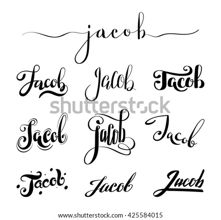 8245532f403e6 Personal name Jacob. Vector handwritten calligraphy set. Handmade lettering  collection