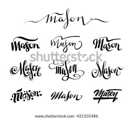 50edb61364d14 Personal name Mason. Vector handwritten calligraphy set. Handmade lettering  collection #421105486