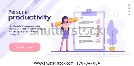 Personal productivity, efficiency and time management concept. Personal growth,  personal development, successful career. Vector template for web banner.