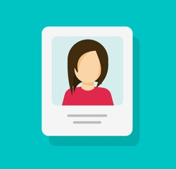 Personal profile document with photo id or my account vector icon isolated, flat cartoon paper card with person details or information data, idea of customer or client info, resume note modern design