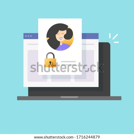 Personal profile password secure account access denied online or web digital internet private authentication technology vector flat cartoon, computer laptop blocked or protected user info icon Foto d'archivio ©