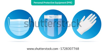 Personal protection equipment icons. Face mask, plastic face shield and latex gloves vector illustration. Medical workers accessories isolated on white background. Corona virus disease protective kit.