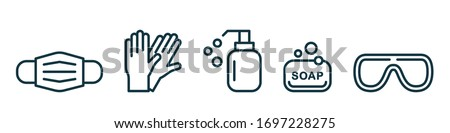 Personal protection equipment icons - medical mask, latex gloves, soap, dispenser, protective glasses. Coronavirus, covid 19 prevention items. Line, outline symbols. Mask icon. Vector illustration