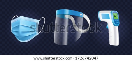 Personal Protection Equipment set. Medical mask, Face shield and infrared thermometer in isolated vector