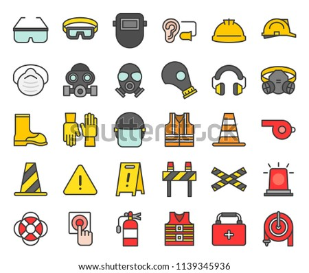 Personal Protective equipment and firefighter equipment icon, filled outline