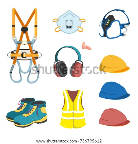 Personal protective equipment for safe work. Vector illustration of health and safety equipment.