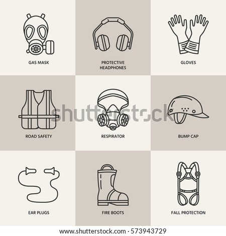 Personal protective equipment line icons. Gas mask, ring buoy, respirator, bump cap, ear plugs and safety work garment. Health protection thin linear signs