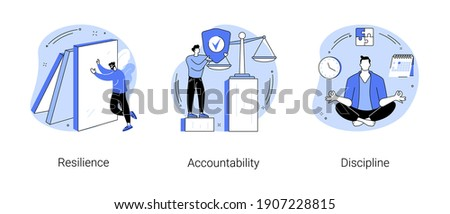 Personal quality abstract concept vector illustration set. Resilience, accountability and discipline, mental strength, psychological flexibility, decision making, leadership role abstract metaphor.