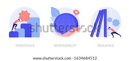 Personal skills development. Self growth and motivation. Career coaching, business training. Persistence, responsibility, resilience metaphors. Vector isolated concept metaphor illustrations.