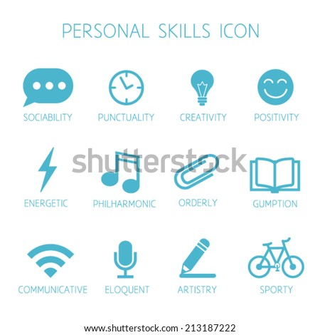 ... set. Soft skills pictograms. Can be used in resume with infographics