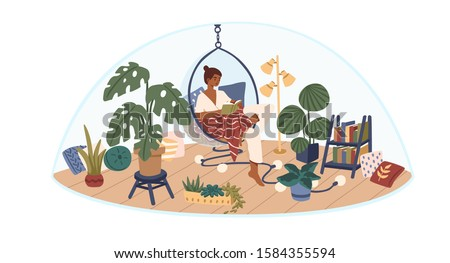 Personal space concept flat vector illustration. Selftime. Girl sitting in comfortable hanging chair, covered in blanket and reading book. Indoor garden, cute and comfy interior design. Сток-фото ©