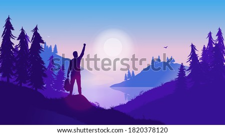 Personal success story - Silhouette of positive male person in wild landscape, raising hand in triumph. Nature therapy, live in the moment, and overcome adversity concept. Vector illustration. Stock photo ©