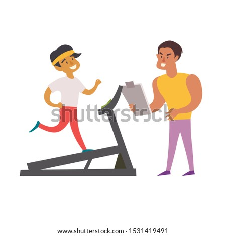Personal trainer and running man on treadmill. Healthy lifestyle concept. Cardio on the gym. Isolated vector illustration on white background