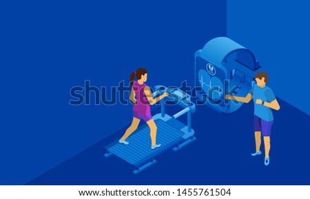 Personal trainer for the girl on the treadmill. Free space for text or information. Blue background. Isometric illustration.